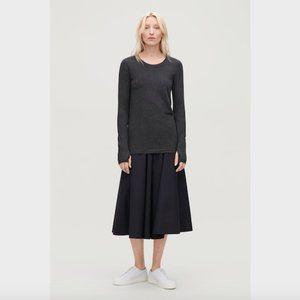 COS Dark Grey Long Sleeve Thumbhole Top T-Shirt L